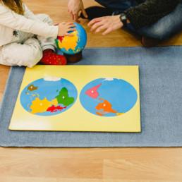 Montessori globe and world puzzle map